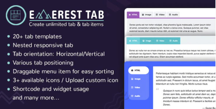Everest tab plugin wordpress onglet