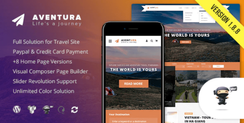 Aventura travel themes wordpress creer site web voyages agence tour operateur