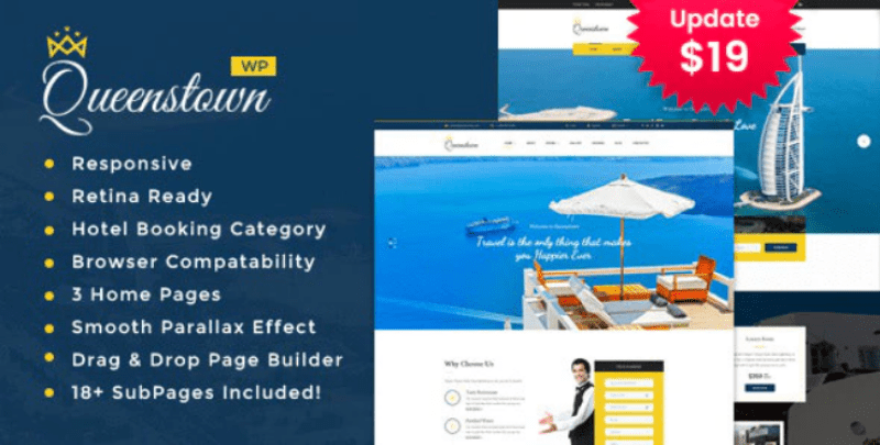 Queenstown themes wordpress creer site web voyages agence tour operateur 1