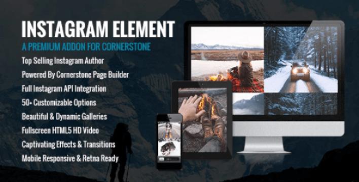 Instagram element cornerstone element for wordpress plugin