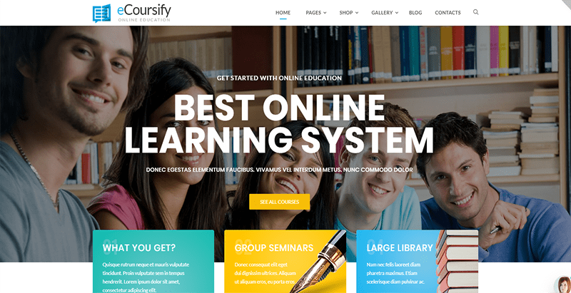 Ecoursify theme wordpress creer site web e learning