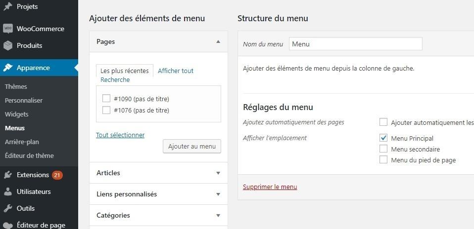Créer un menu sur wordpress
