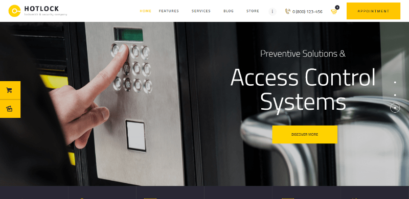 Hotlock themes wordpress creer site web entreprise securite gardiennage
