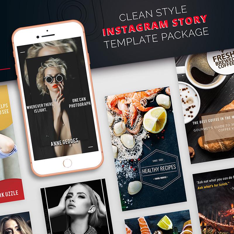 Package pour Stories Instagram au style propre modèle pour médias sociaux
