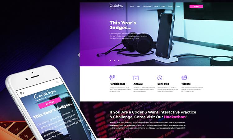 Codathon - Hackathon for Coders Landing thème WordPress adaptatif