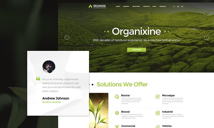 Organixine - Thème WordPress Société de biocarburant