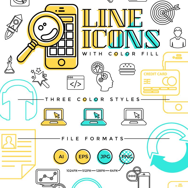 Line ensemble d'Icônes