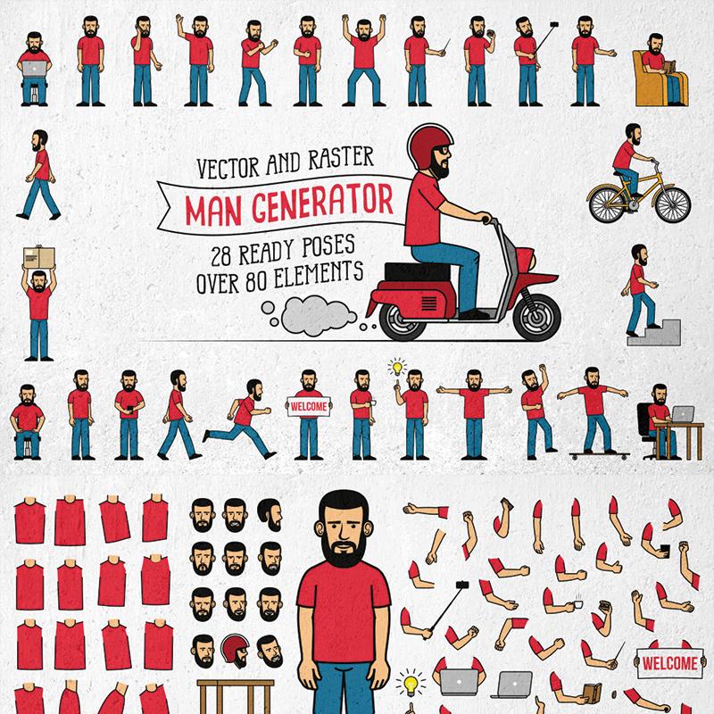 Bearded Men Generator Illustration