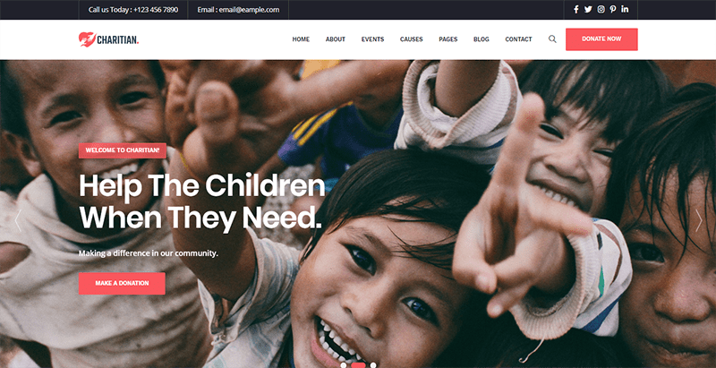 Charitian themes wordpress creer site web organisation humanitaire