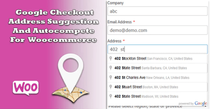 Google checkout address suggestion and autocompete for woocommerce plugin wordpress