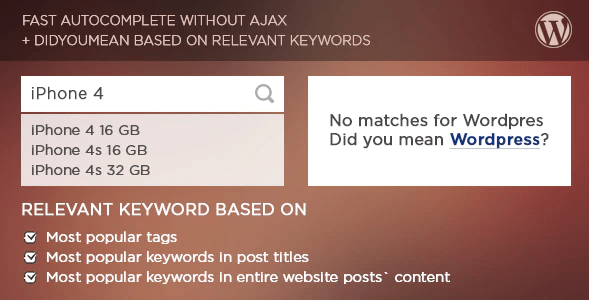 Live search and smart autocomplete for wordpress plugin