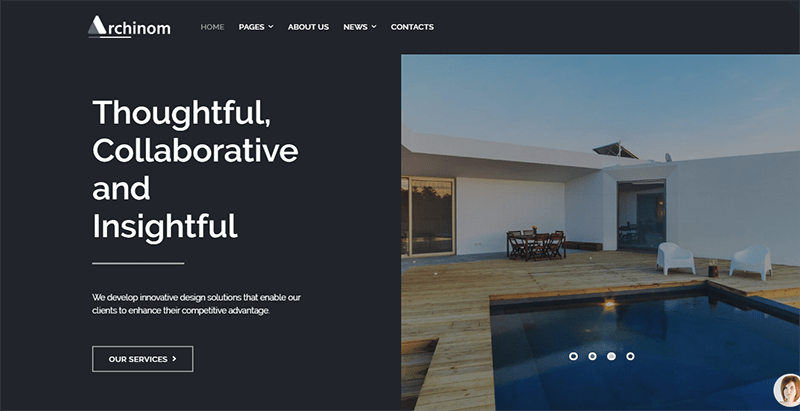 Archinom theme wordpress creer site web architecte