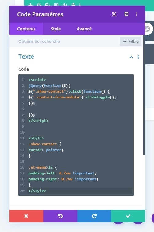 Ajouter code javascript