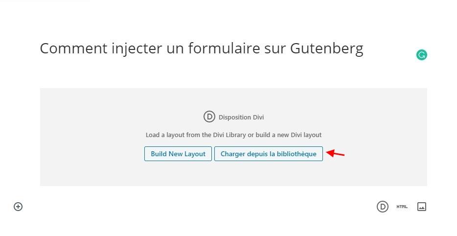 Injecter un formulaire sur gutenberg