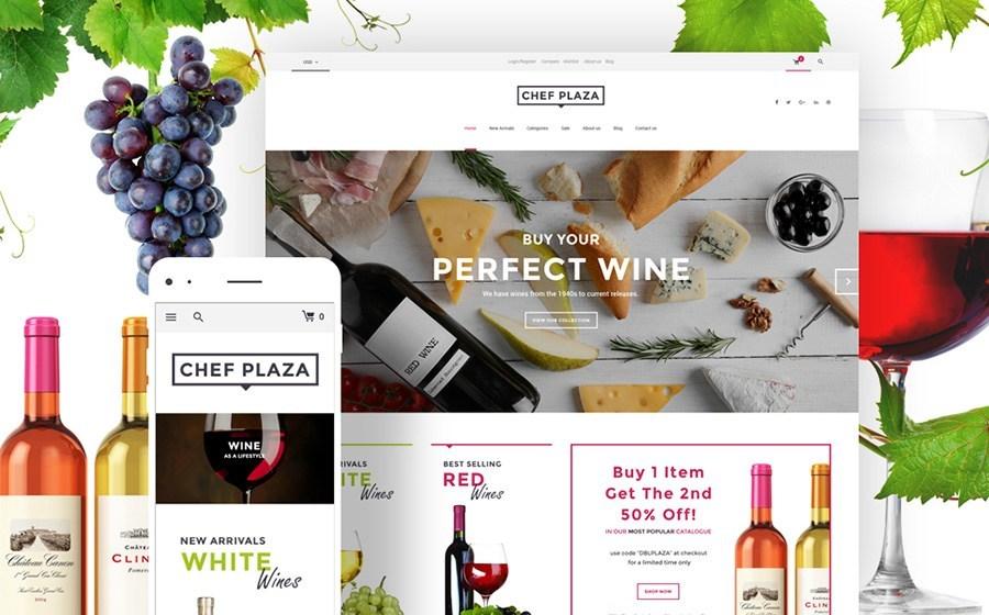 Chef Plaza - WooCommerce responsivo Loja de alimentos e vinhos