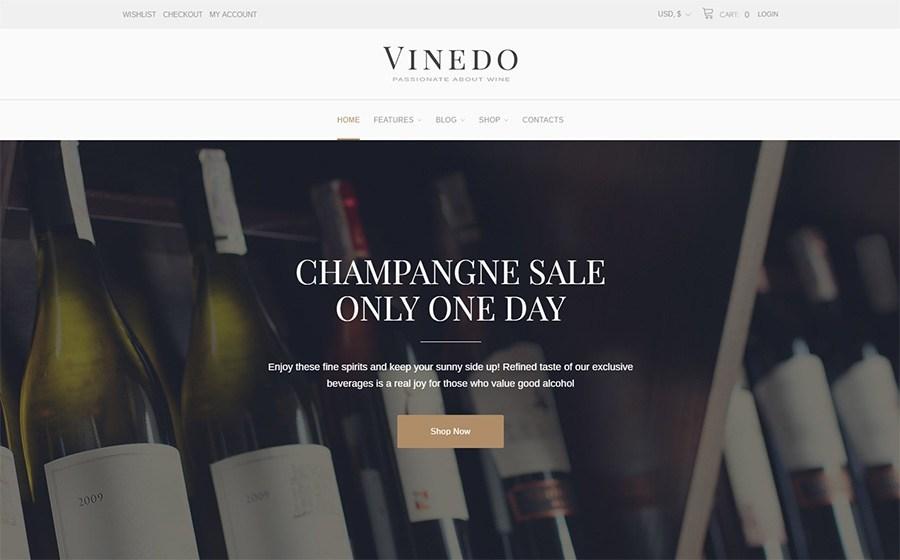 Vinedo - Vinery Elementor tema adaptável do WooCommerce