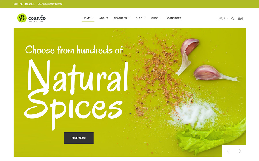 Piccante - Магазин специй Elementor Адаптивная тема WooCommerce