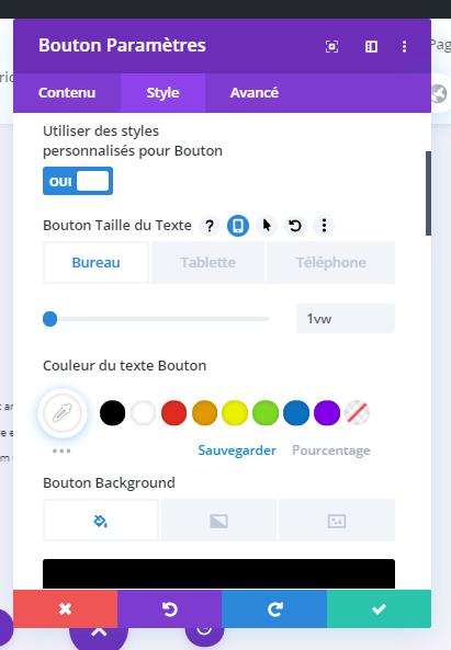 Custom style button divi