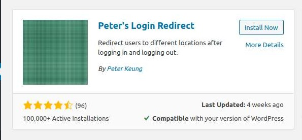 Peter redirect login wordpress