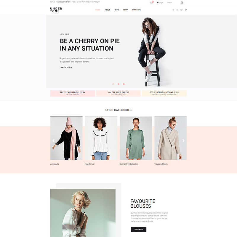 Undertone Clothes & accessories woocommerce Elementor template