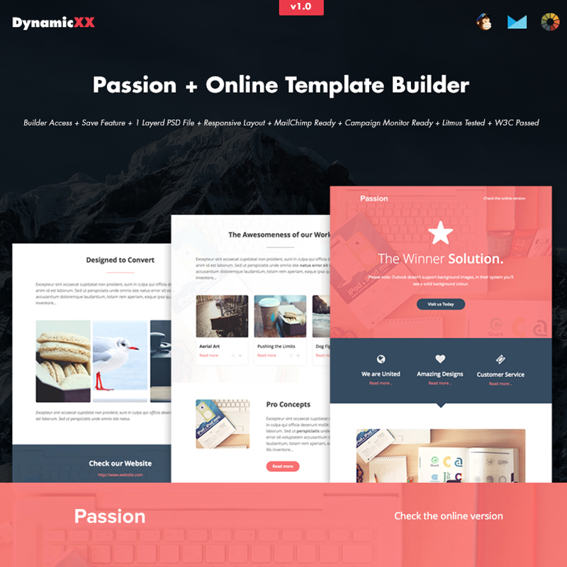 Passion HTML Email + Online Builder modèle Bulletin