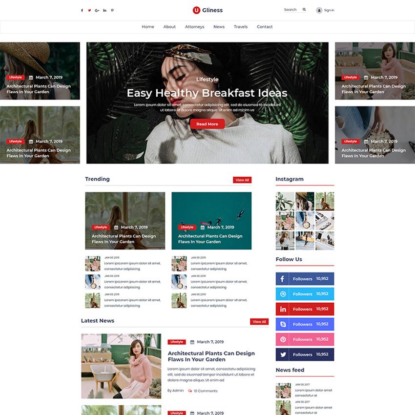 Ugliness- News & Magazine Blogger modèle PSD Bootstrap
