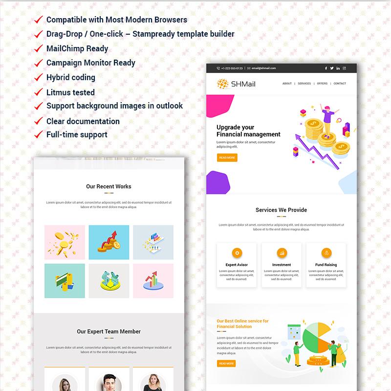 SHMail - Multipurpose Responsive Email modèle Bulletin adaptatif