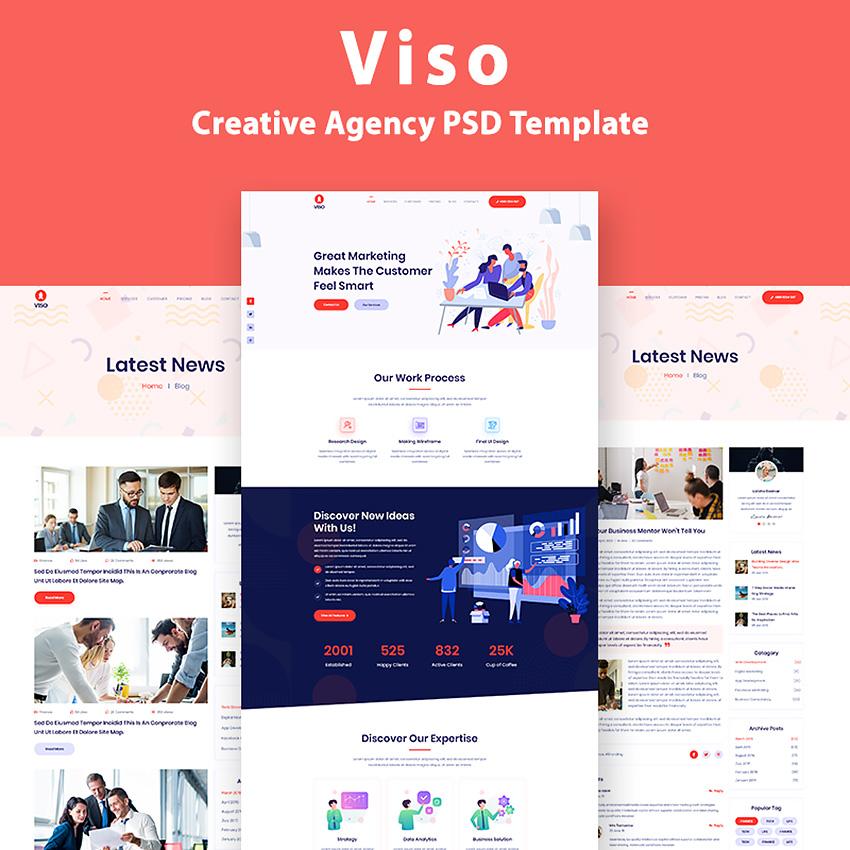 VISO - One Page Creative Agency modèle PSD