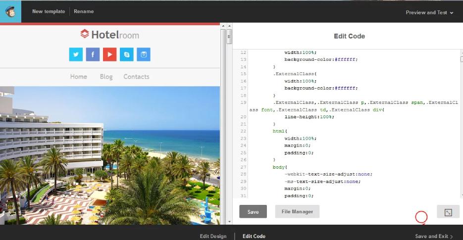 edit mailchimp template code