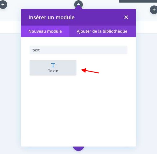 Selection module text divi
