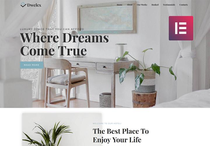 Dwelex - Thème Elementor d'une page pour site immobilier