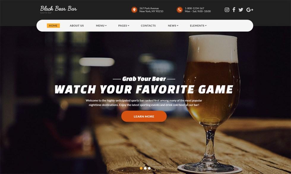 Bar - Modèle HTML5 moderne prêt à l'emploi