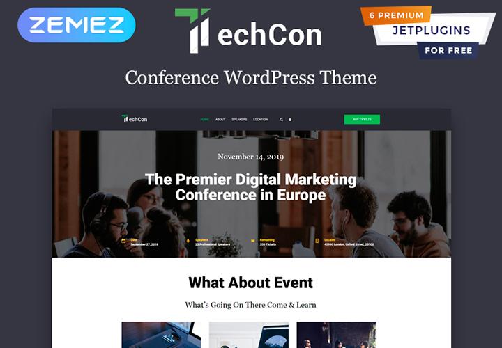 TechCon - Thème WordPress animé d'une page pour conférence
