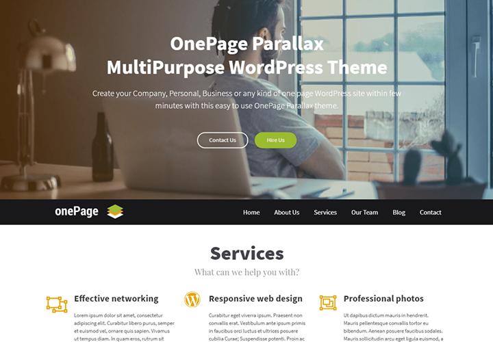 OnePage Parallax - Thème WordPress Business