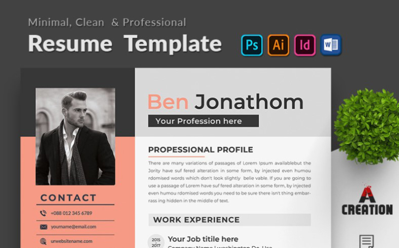 Ben Jonathon Editable Resume Template