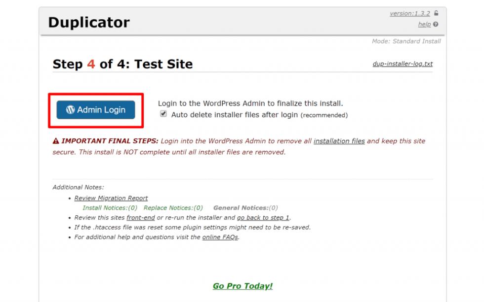 Comment migrer site web wordpress elementor installer 4