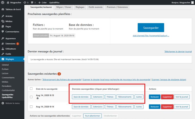 Comment sauvegarder site web wordpress avec sans plugins 3