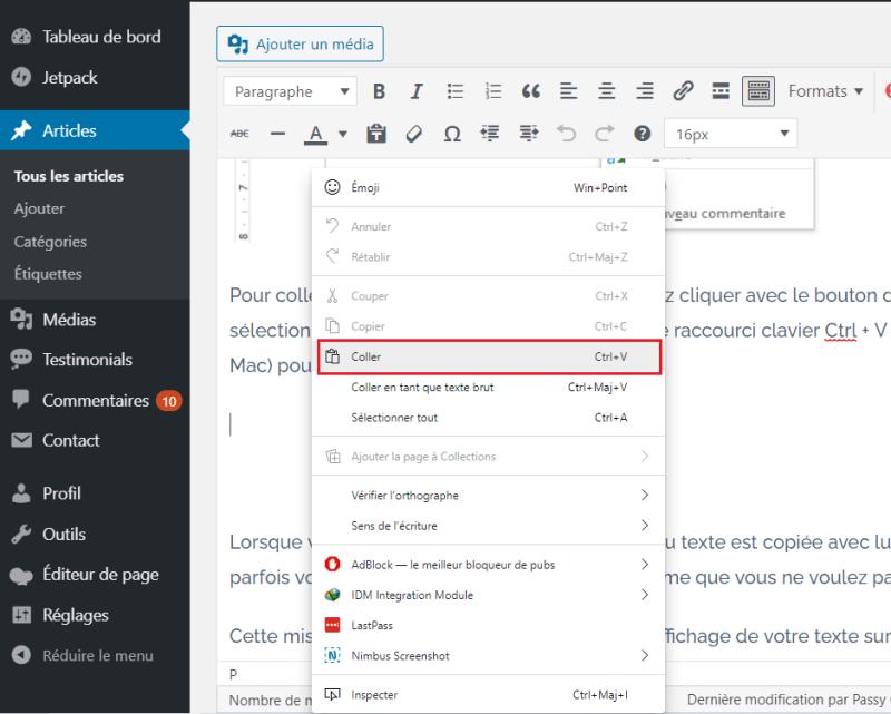 Comment copier coller wordpress editeur classique