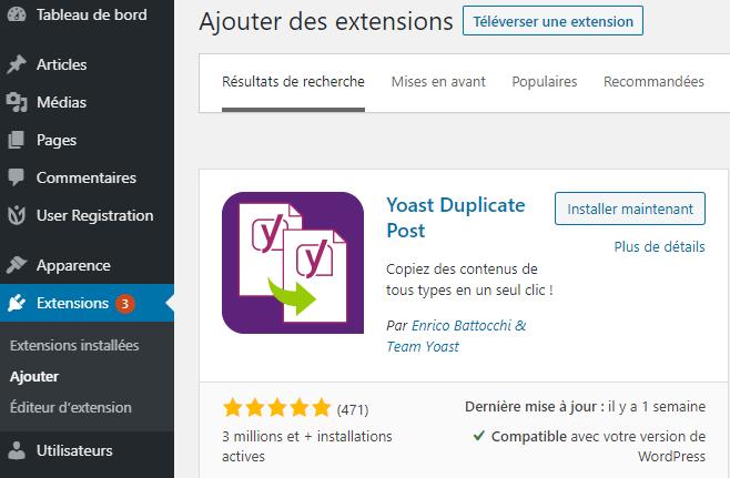 Installation plugin wordpress yoast duplicate post