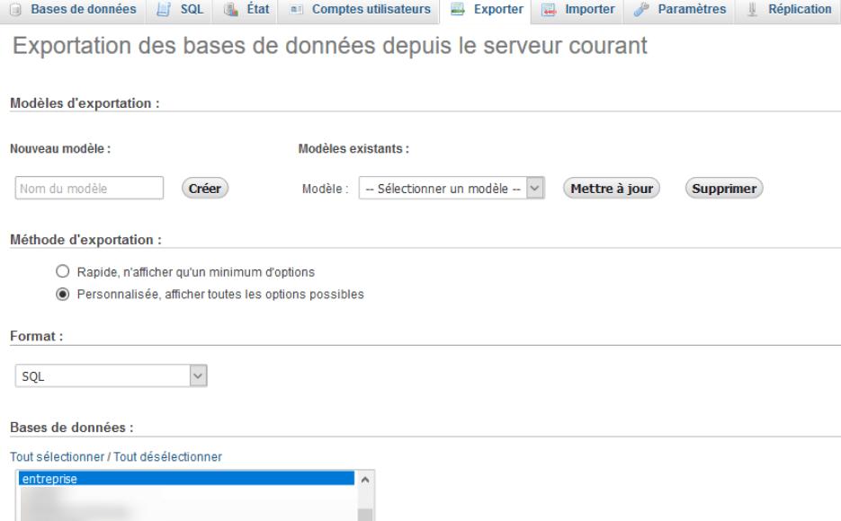 Mysql exporter base donnees blogpascher 1