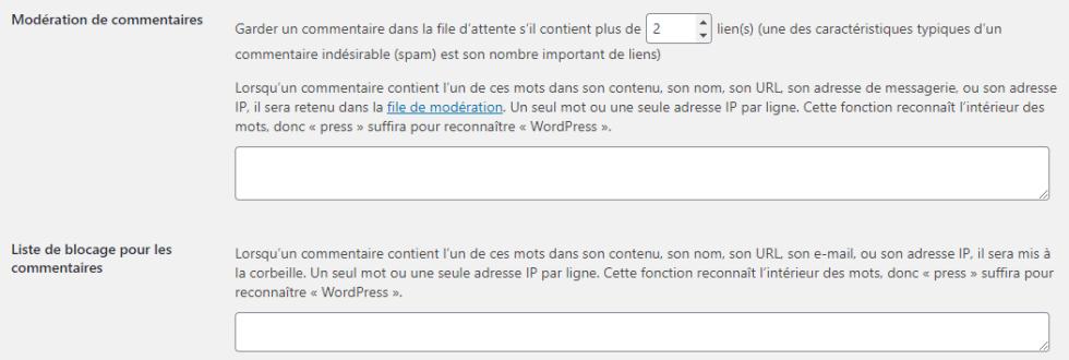 Reglage commentaires par defaut filtrer spam blogpascher