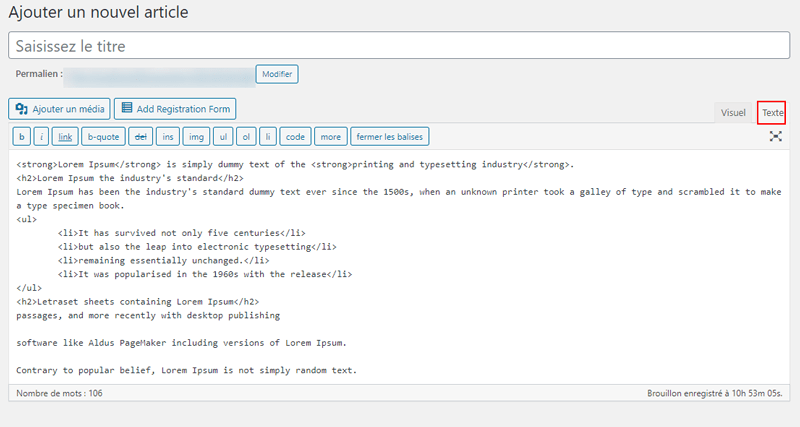 Wordpress google docs editeur classique html