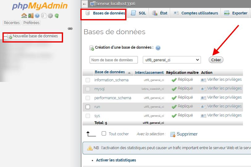 comment créer la base de données sur phpmyadmin