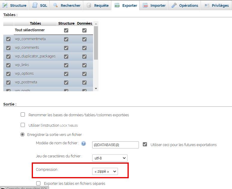 comment exporter la base de données WordPress dans phpmyadmin et compresser