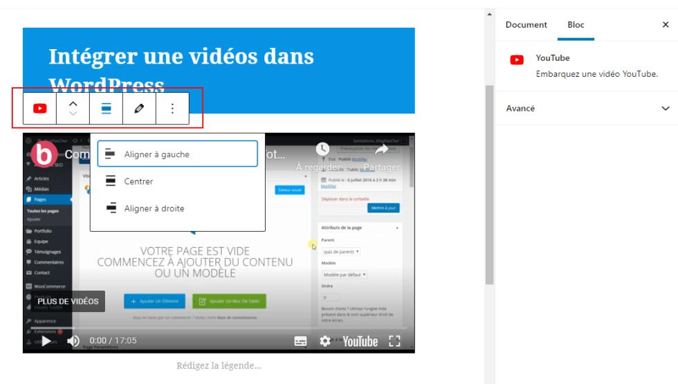 Intégrer des videos dans WordPress editeur blocs wordpress parametres