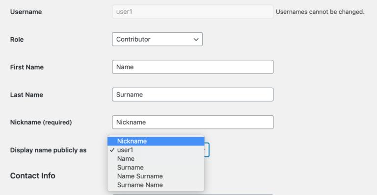 Choisir le nom d'affichage d'un utilisateur WordPress.