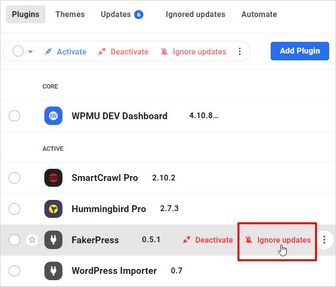 Écran Plugins: lien Ignorer les mises à jour - élément unique.