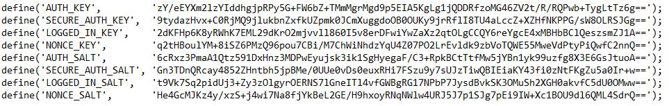 Clés SALT dans le fichier wp-config