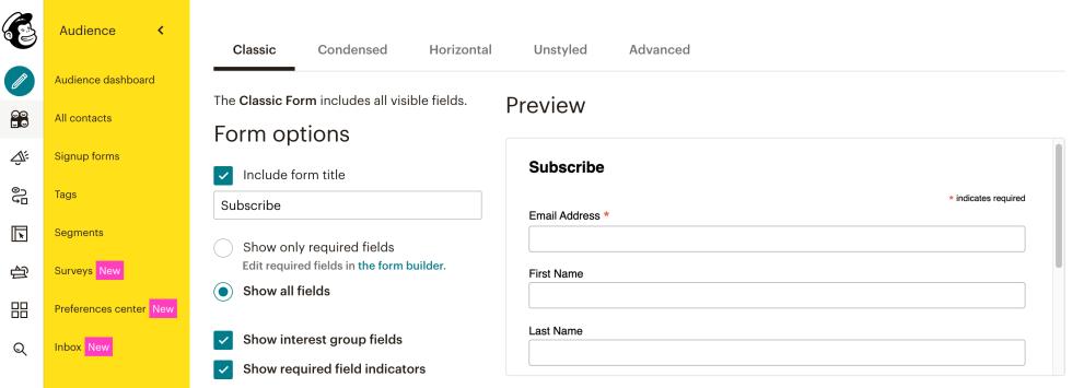 Un formulaire Mailchimp créé avec une mise en page intégrée.