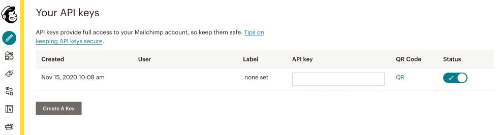 Une clé API Mailchimp.